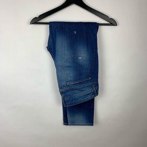 Zara Woman Aged Denim Hole Rip Skinny Jeans Sz 8